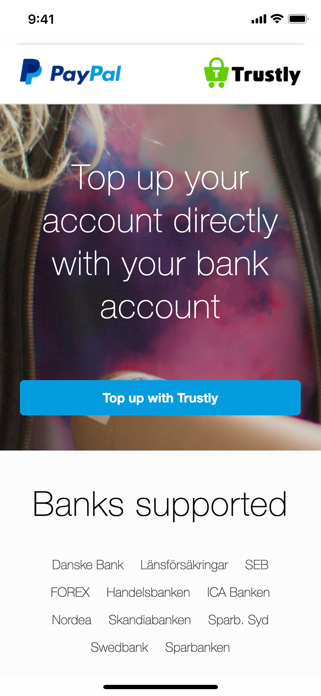 Trustly Finserv - Money top up directly from a bank account to Paypal using Trustly on mobile device