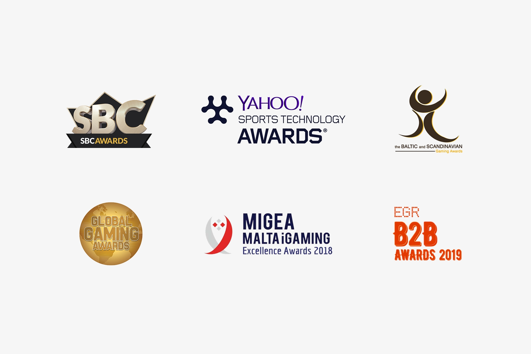 Trustly Gaming awards logos