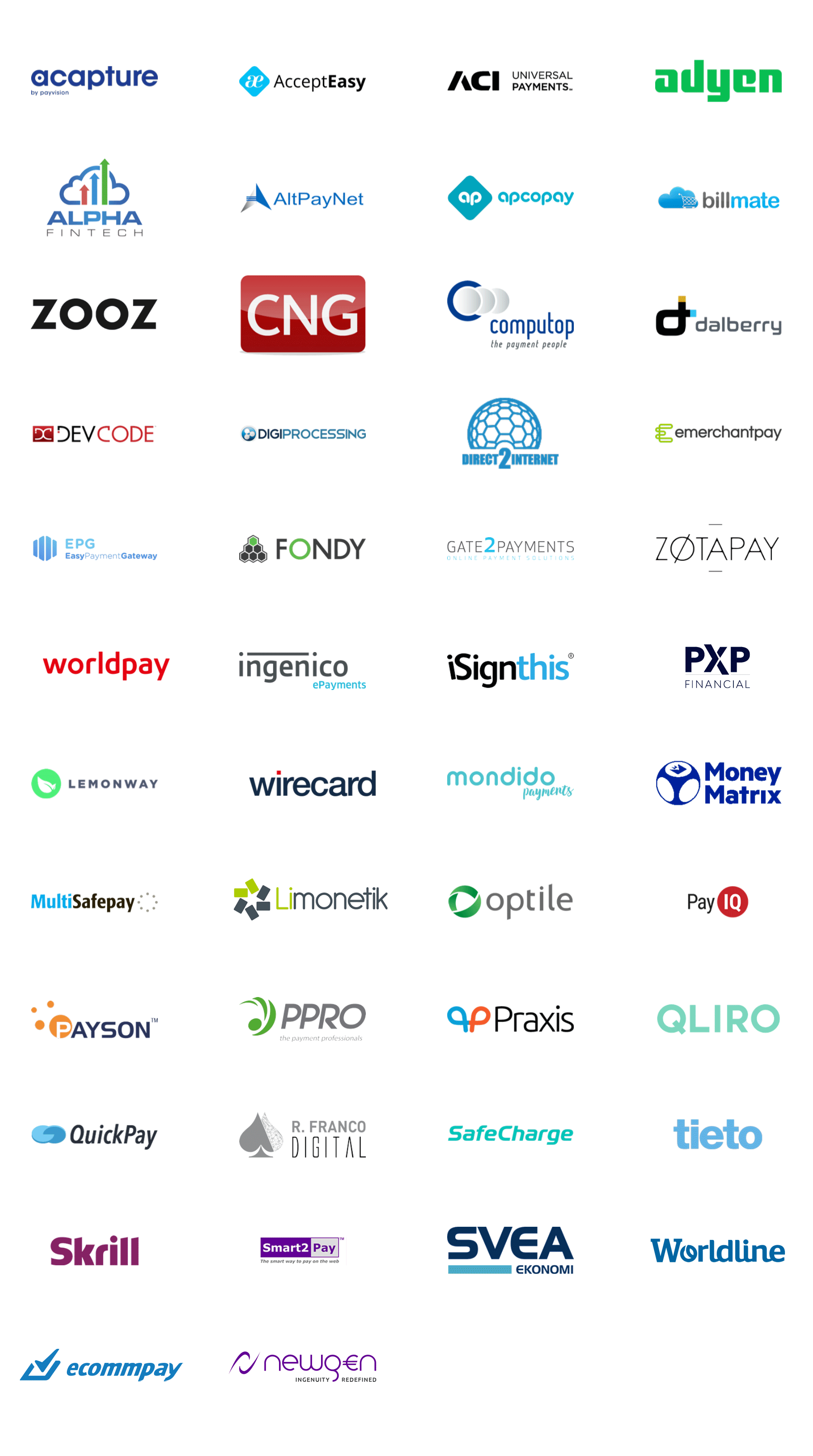 Trustly Current Partners - PSP logotypes